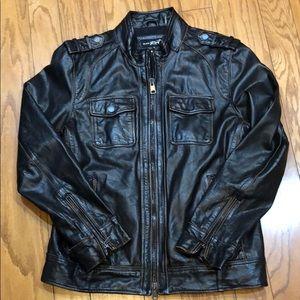 Black Rivet Distressed Dark Brown Leather Jacket